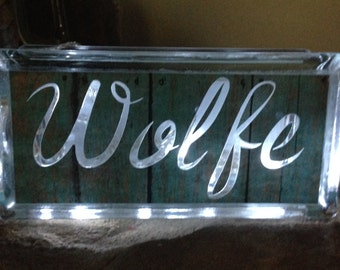 Glass block with lights and monogram made to order