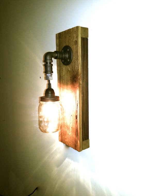 items similar to mason jar wall sconce mason jar wall light jar fixture reclaimed upcycled. Black Bedroom Furniture Sets. Home Design Ideas