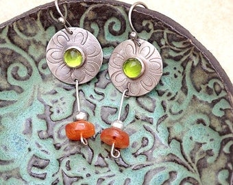 Sterling silver earrings , tourmaline  and Amber stones ,  dangle earrings ,  green tourmaline , Amber bead