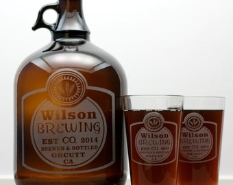 Classy Label Home Brew Growler & Glass set  Design. Homebrew,  Beer Glass,  Beer,fathers day gift,