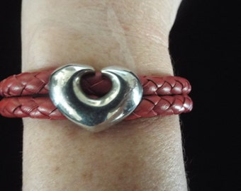 Heart Sterling Silver and Red Leather Heart Cuff Bracelet
