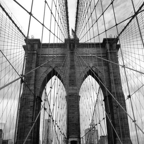 brooklyn bridge black and white poster by krajsacreations on etsy. Black Bedroom Furniture Sets. Home Design Ideas