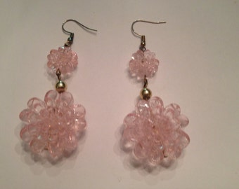Pink Dangle Flower Earrings Costume Jewelry