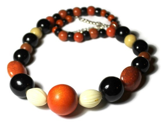 Orange, Black and Cream Beaded Necklace, Handmade Necklace,  Upcycled Jewelry, Assemblage Jewelry, Fall Colors, Halloween Jewelry Gift