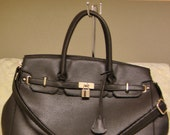 Hermes Inspired Large Black Shoulder Bag/Handbag/Purse