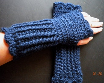 Soft, Warm, & Practical Wrist Warmer- Dark Country Blue