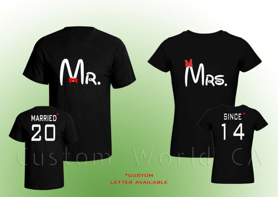 Couple t shirt married since mr and mrs by customworldca for Custom photo t shirts front and back