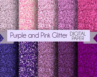 Purple and Pink Glitter DIgital Paper Pack / Instant download / 10sale!  Digital Papers - for Crafts, Scrapbooking, Invitationa