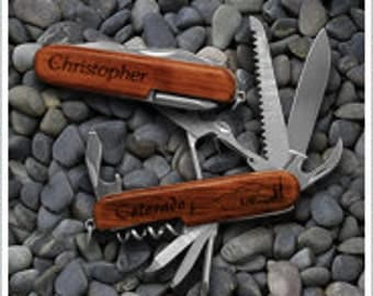 Five (5) Personalized 9 Function Rosewood Pocket Knives - Laser Engraved with YOUR NAME(s)!