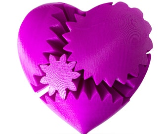 3D Printed Purple Heart Gear Mechanical Mind Teaser Rotating Twister Engineer Nerd Gift
