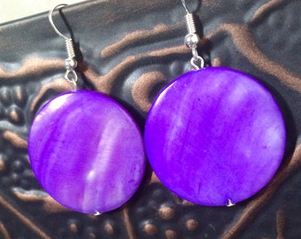 Purple Mother-of-Pearl Disk Dangle Earrings