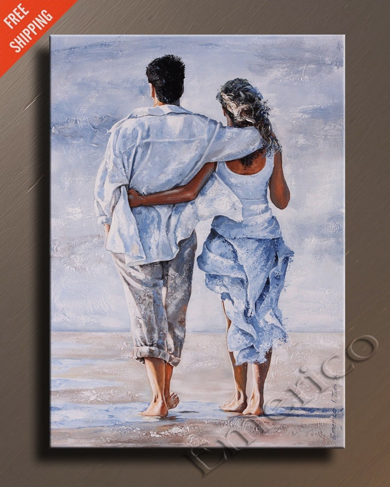 ORIGINAL Couple In Love PAINTING Textured Contemporary Fine