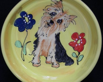Hand Painted Ceramic Pet Bowl - Yorkie