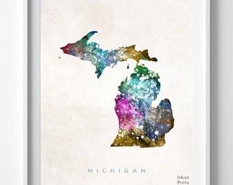 Michigan Map Print, Lansing Print, Michigan Poster, Lansing Map, Watercolor Painting, Map Poster, Home Decor, Maps, Back To School