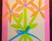 Pink and off-white handmade card, with paper flowers in bouquet, pink envelope