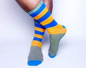 Stripe Socks - Blue and Orange Striped Socks. Mens Striped Socks. Wedding Socks. Groomsmen Socks.