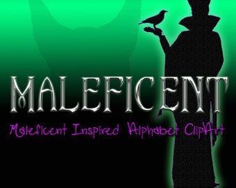 Maleficent Inspired Alphabet Clipart, Printable Maleficent Chrome Letters and Numbers + Punctuation,  Digital Maleficent Alphabet