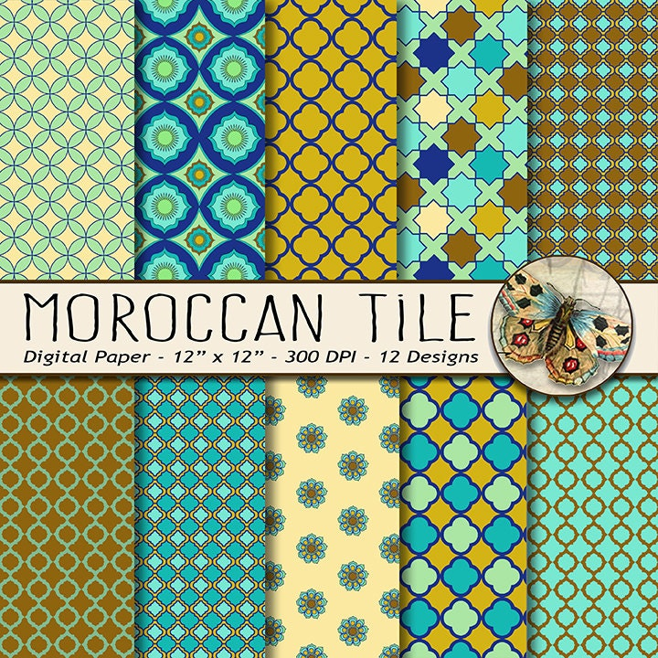 Moroccan Tile Digital Paper Moroccan Patterns In Turquoise And Brown Moroccan Mosaic Paper