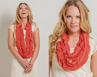 Coral Infinity Ruffle Scarf (MH-005)