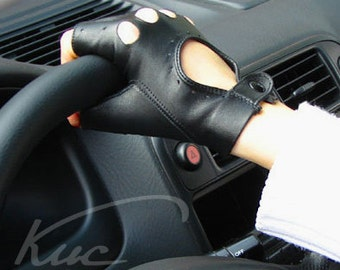 Fingerless car driving leather gloves, driving gloves, cycling gloves,  ladies gloves, scooter gloves - Italian lambskin nappa leather