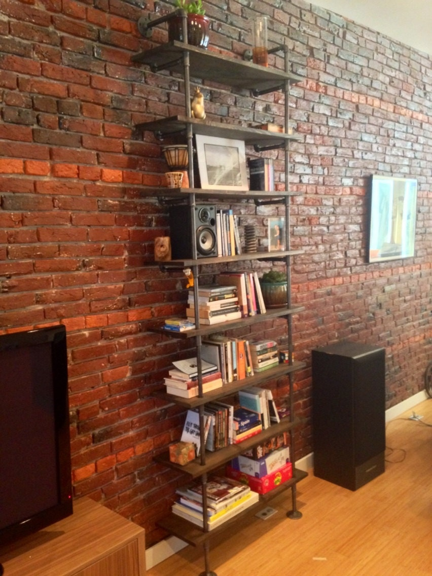 wood and pipe shelf bookshelf or bookcase. Black Bedroom Furniture Sets. Home Design Ideas