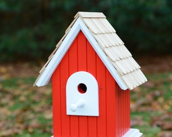 Hand crafted,solid wood birdhouse with cedar roof shingles - Red