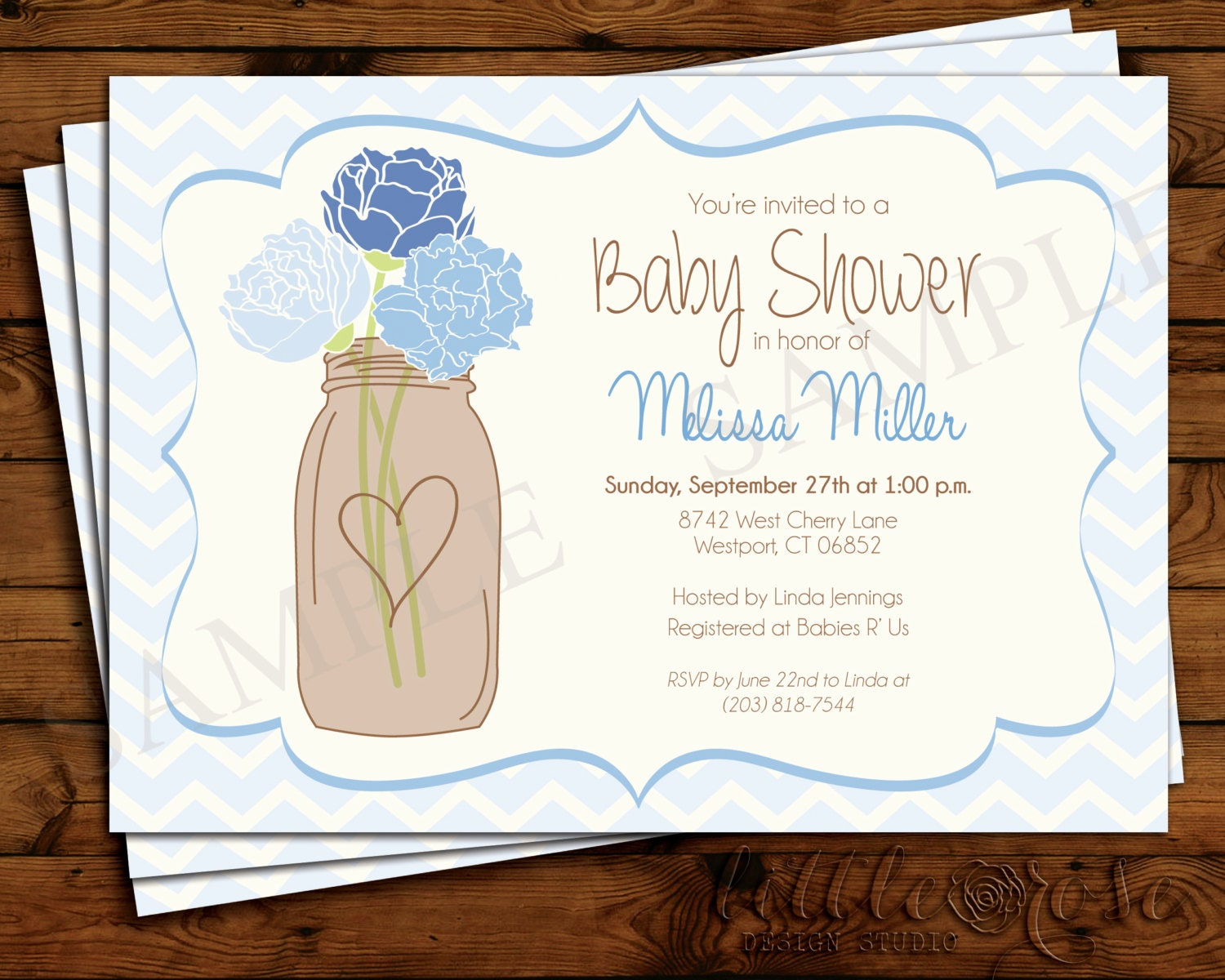 mason jar chevron baby shower invitation baby by littlerosestudio