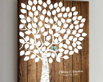 100 Guest CANVAS Wedding Guest Book Wood Wedding Guestbook Canvas Alternative Guestbook Canvas Wedding Guestbook - Wood