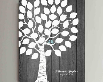 40 Guest Wedding Guest Book Wood Wedding Tree Wedding Guestbook Alternative Guestbook Poster Wedding Guest book Rustic Wood