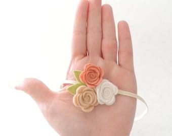 Baby Flower Headband - Felt Flower Headband, Felt Baby Headband, Newborn Headband, Baby Girl Headband