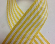 Yellow and White Grosgrain Candy Stripe Ribbon - Select width & length - Schiff Ribbons