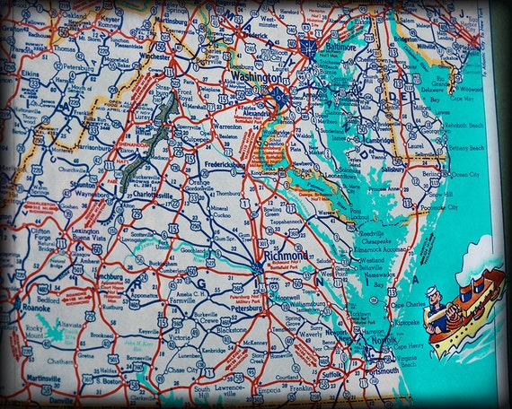virginia retro map print funky vintage turquoise photo