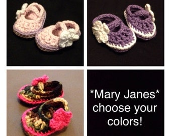 Baby crochet Mary Jane shoes / booties - request a color!