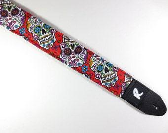 Sugar Skulls Guitar Strap - Red - Hippie - Cool Gift