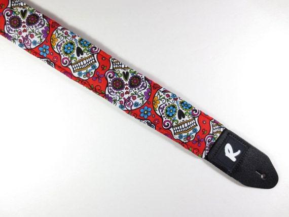 sugar skulls guitar strap red hippie cool gift. Black Bedroom Furniture Sets. Home Design Ideas