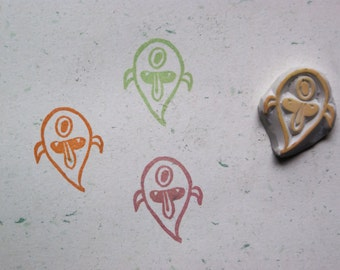 Little Ghost Stamp. Halloween stamp. hand carved stamp. rubber stamp. unmounted.