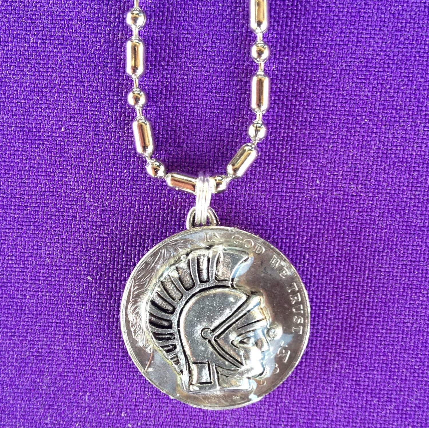 trojan or spartan charm on a real coin necklace by