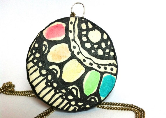 Rainbow Lotus Geometric Zen Doodle Pendant Necklace- Rainbow Color Jewelry Festival Wear Modern Design Painted Statement Necklace