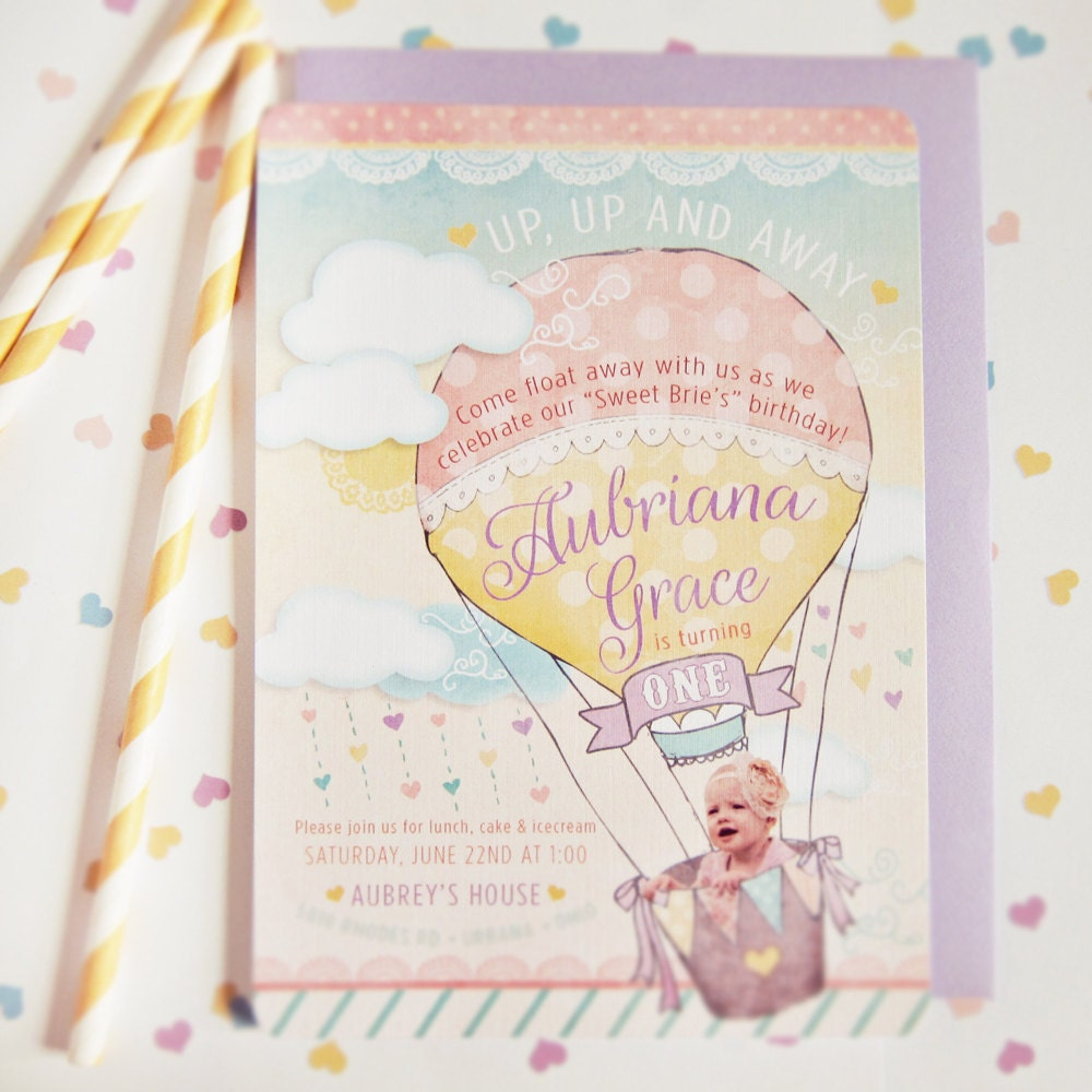 Hot Air Balloon Invitations First Birthday with Clouds