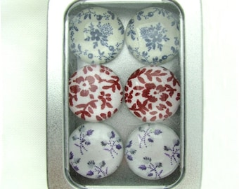 Set of Six Magnets Pretty Blue, Red, Purple Toile and Calico in Tin Box