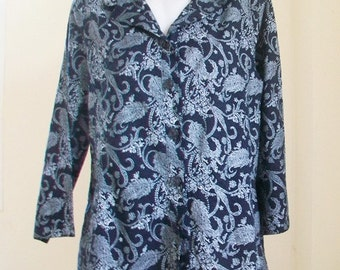 Vintage Navy Blue Cotton print shirt .