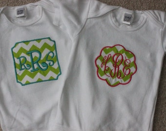 Soft cotton onesie with lime chevron applique and three letter monogram in pink for baby girls