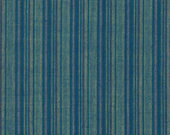 BY the PIECE Blue Striped Fabric Reproduction Historical Quilting Cotton Doll Clothes Past Crafts 18th 19th Century