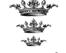 Three Vintage crowns Wickedly Lovely skin art  temporary tattoo