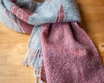 Extra Wide Scarf Shetland Wool - Grey & Red