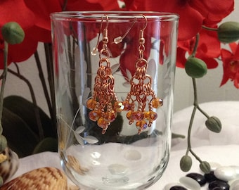 Copper chain maille earrings