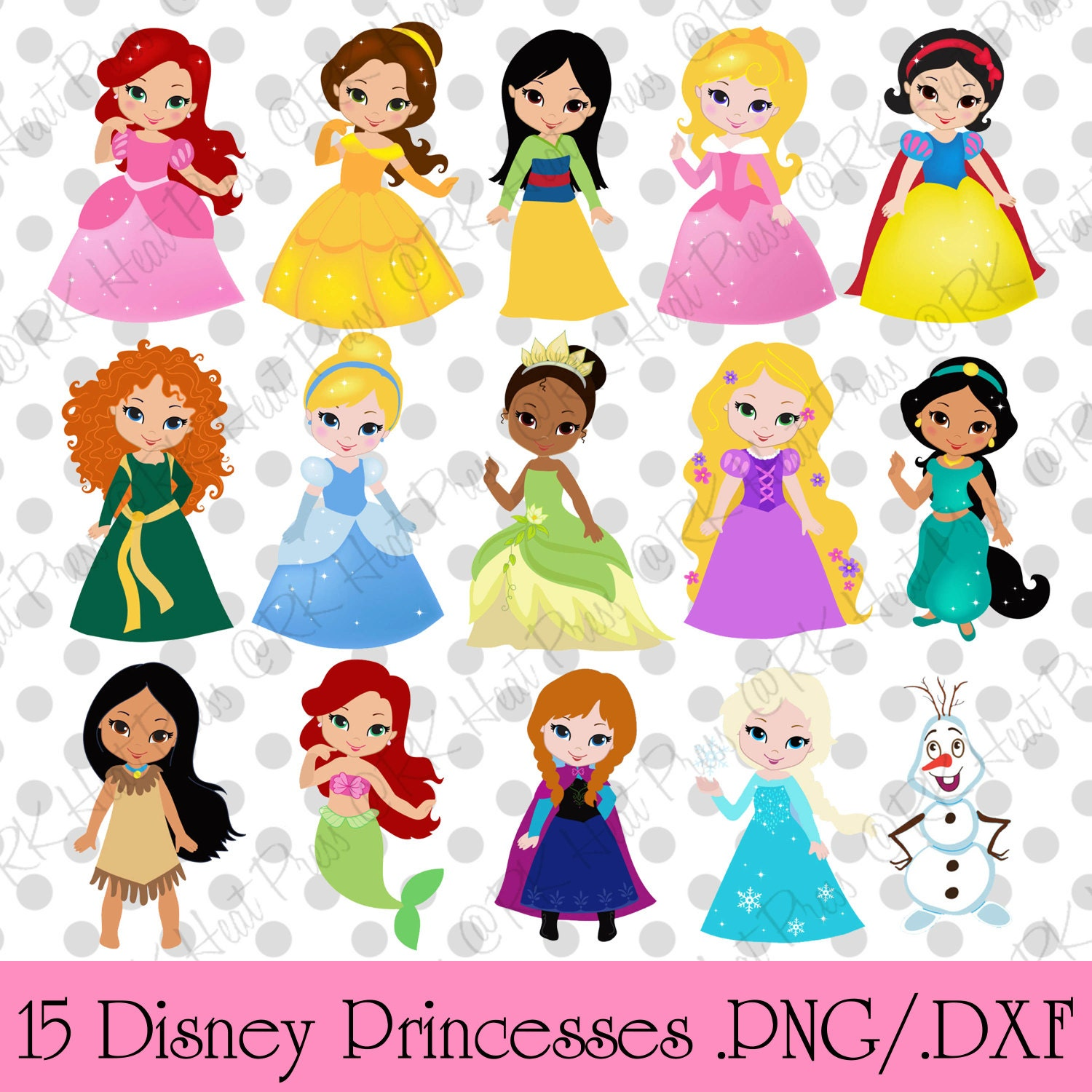 Disney Inspired Cute Princess Cut Files .png .dxf by ...