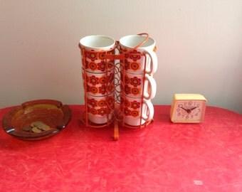 Retro Flower Power Mug Set