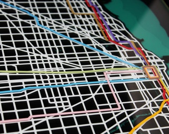 "Chicago ""L"" Line Train Map - 12""x12"""