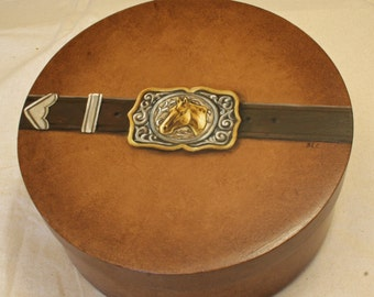 SOLD...Hand Painted Western Belt Buckle Keepsake Box. Round Wooden Box, faux finished and original artwork painted on it.